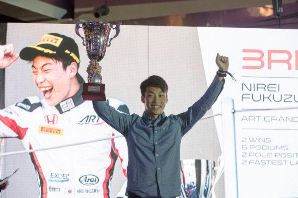 2017 Awards Evening. Yas Marina Circuit, Abu Dhabi, United Arab Emirates. Sunday 26 November 2017. Nirei Fukuzumi (JPN, ART Grand Prix).  Photo: Zak Mauger/FIA Formula 2/GP3 Series. ref: Digital Image _56I3626