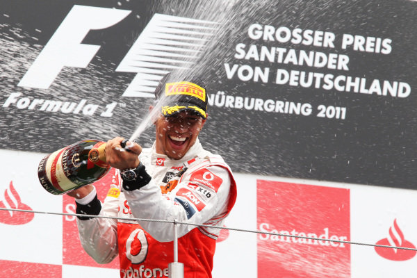 Lewis Hamilton (GBR) McLaren on the podium.  Formula One World Championship, Rd 10, German Grand Prix, Race, Nurburgring, Germany, Sunday 24 July 2011.  BEST IMAGE