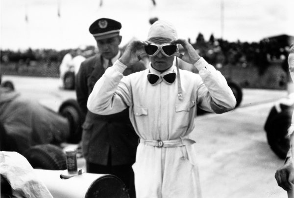 Nurburgring, Germany. 25 July 1937.Rudolf Caracciola, Mercedes-Benz W125, 1st position, portrait.World Copyright: Robert Fellowes/LAT PhotographicRef: RF37_GER_13.