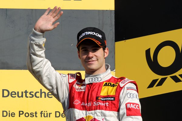 Miguel Molina (ESP), Audi Sport Team Abt Junior (3rd) celebrates third place on the podium.