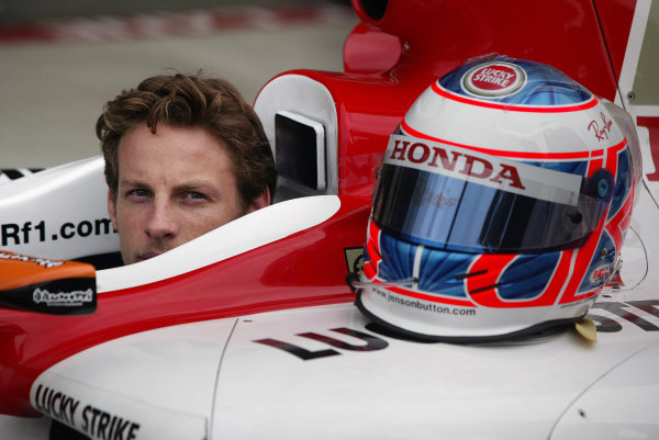2004 United States Grand Prix - Thursday,Indianapolis, USA. 17th June 2004 Jenson Button, BAR Honda 006, portrait, in the cockpit of his car.World Copyright: Steve Etherington/LAT Photographic ref: Digital Image Only