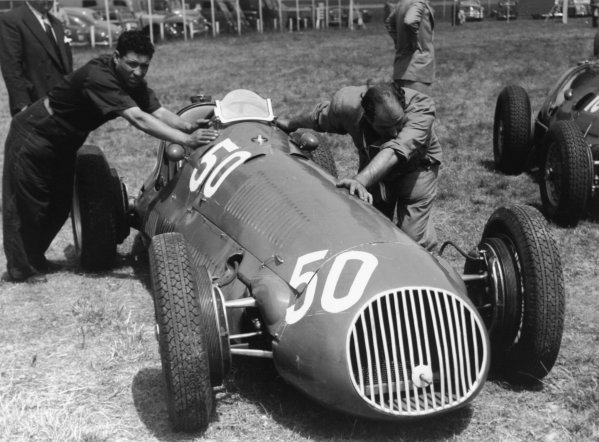 1951 French Grand Prix.Reims-Gueux, France. 1 July 1951.Onofre Marimon's (Maserati 4CLT/50-Milano) in the paddock. Ref-51/35 #6A.World Copyright - LAT Photographic