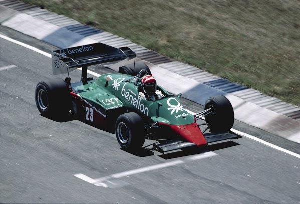1984 Brazilian Grand Prix.Jacarepagua, Rio de Janeiro, Brazil.23-25 March 1984.Eddie Cheever (Alfa Romeo 184T) 4th position.Ref-84 BRA 69.World Copyright - LAT Photographic