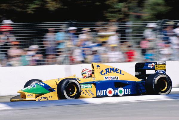 1991 Australian Grand Prix.Adelaide, Australia.1-3 November 1991.Nelson Piquet (Benetton B191 Ford) 4th position.Ref-91 AUS 36.World Copyright - LAT Photographic