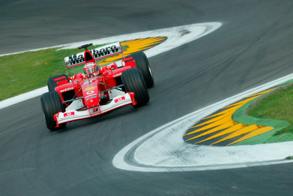 2003 San Marino Grand Prix - Saturday 2nd Qualifying,Imola, Italy.19th April 2003.Rubens Barrichello, Ferrari F2002, action.World Copyright LAT Photographic.ref: Digital Image Only.