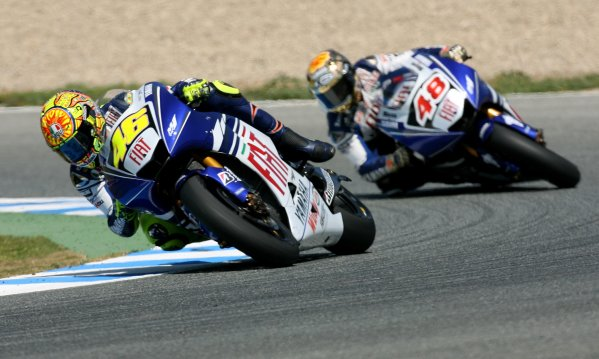 2008 Moto GP ChampionshipJerez, Spain. 28th - 30th March 2008.Fiat Yamaha Team Mates Valentino Rossi and Jorge Lorenzo battle it out for 2nd place.World Copyright: Martin Heath/LAT Photographicref: Digital Image Only