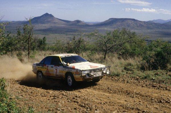 1987 World Rally Championship.Safari Rally, Kenya. 16-20 April 1987.Hannu Mikkola/Arne Hertz (Audi 200 Quattro), 1st position.World Copyright: LAT PhotographicRef: 35mm transparency 87RALLY04