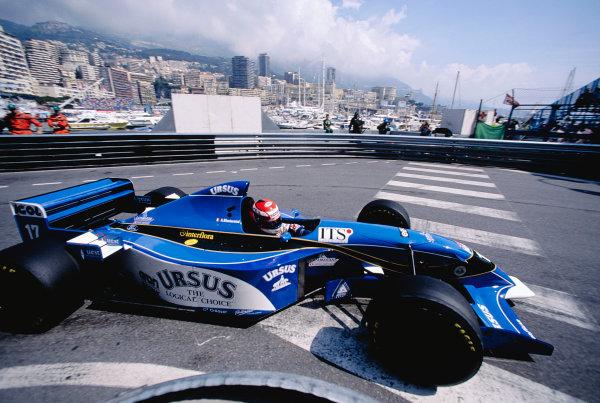 1995 Monaco Grand Prix.Monte Carlo, Monaco. 25-28 May 1995.Andrea Montermini (Pacific PR02 Ford) at Rascasse.Ref-95 MON 85.World Copyright - LAT Photographic