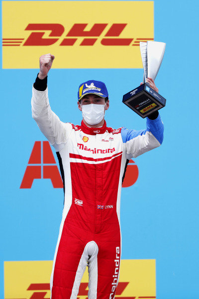 Alex Lynn (GBR), Mahindra Racing, 2nd position, on the podium with his trophy