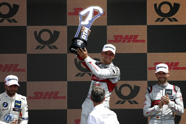 Podium: Race winner Nico Müller, Audi Sport Team Abt Sportsline, second place Philipp Eng, BMW Team RBM, third place René Rast, Audi Sport Team Rosberg.