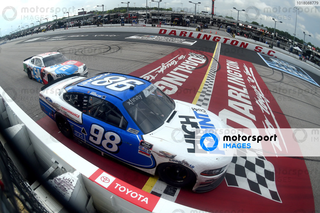 Chase Briscoe, Stewart-Haas Racing Ford, crosses the finish line in front of Kyle Busch, Joe Gibbs Racing Toyota, Copyright: Jared C. Tilton/Getty Images.