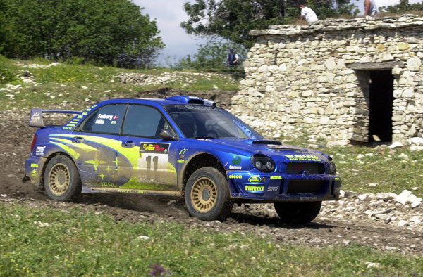 World Rally Championship, Cyprus Rally, April 18-21, 2002.Petter Solberg in action on Stage 17, Leg 3.Photo: Ralph Hardwick/LAT