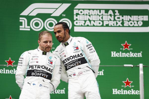 Lewis Hamilton, Mercedes AMG F1 and Valtteri Bottas, Mercedes AMG F1 celebrates on the podium