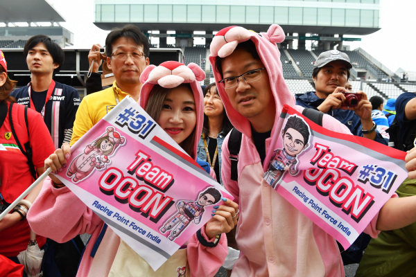 Esteban Ocon, Racing Point Force India F1 Team fans and banners