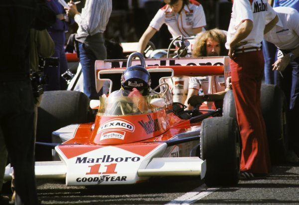 James Hunt (GBR) McLaren M23 overcame the terrible race conditions and a puncture late in the race to take third position and the four points necessary to take his first and only World Championship title. Japanese Grand Prix, Rd 16, Fuji, Japan, 24 October 1976. BEST IMAGE