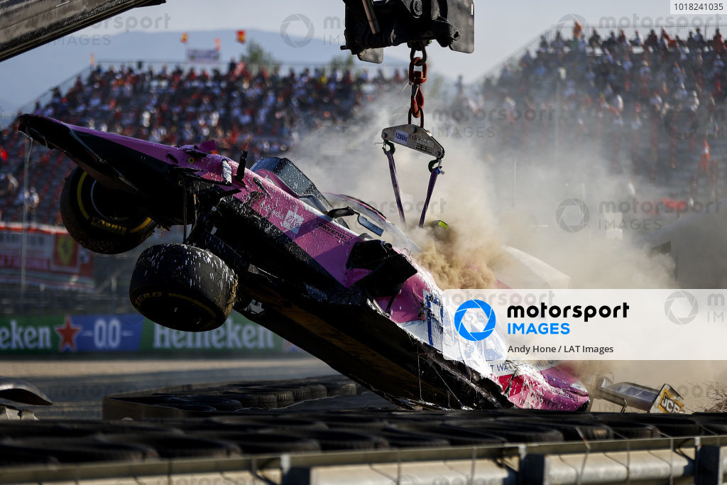 Car of Lance Stroll, Racing Point RP20 being recovered after crashing