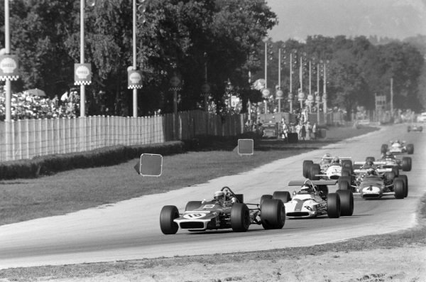 Jackie Stewart, March 701 Ford leads Jackie Oliver, BRM P153 and Clay Regazzoni, Ferrari 312B.