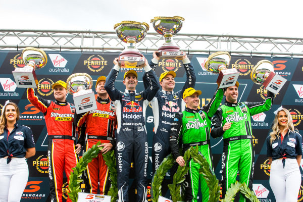 James Moffat, Chaz Mostert, Tickford Racing Ford, Jamie Whincup, Craig Lowndes,  Triple Eight Race Engineering Holden, Lee Holdsworth, Thomas Randle, Tickford Racing Ford