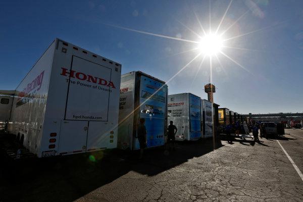 26-27 February, 2016, Avondale, Arizona USA Honda transporters in the paddock waiting to unload ?2016, Phillip Abbott LAT Photographic