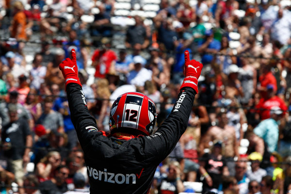 Verizon IndyCar Series Indianapolis 500 Carb Day Indianapolis Motor Speedway, Indianapolis, IN USA Friday 26 May 2017 Will Power, Team Penske Chevrolet celebrates winning the Pit Stop Competition World Copyright: Phillip Abbott LAT Images ref: Digital Image abbott_indy_0517_26874