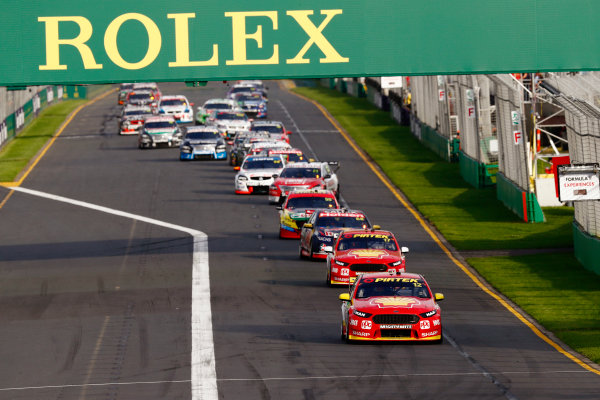 Australian Supercars Series Albert Park, Melbourne, Australia. Friday 24 March 2017. Race 2. Fabian Coulthard, No.12 Ford Falcon FG-X, Shell V-Power Racing Team, leads Scott McLaughlin, No.17 Ford Falcon FG-X, Shell V-Power Racing Team, Jamie Whincup, No.88 Holden Commodore VF, Red Bull Holden Racing Team, and the rest of the field at the start. World Copyright: Zak Mauger/LAT Images ref: Digital Image _56I5576
