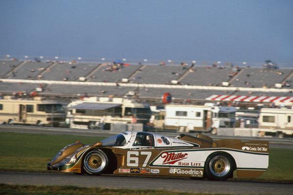 Daytona 24 hours, Florida, USA. 4th - 5th February 1989. Rd 1. John Andretti/Derek Bell/Bob Wollek (Porsche 962), 1st position, action.  World Copyright: LAT Photographic. Ref: 89IMSA DAY04.