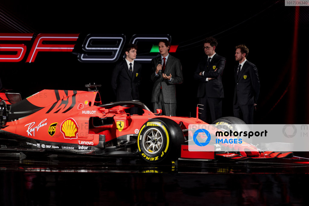 (L to R): Charles Leclerc, Ferrari, John Elkann, Chairman of FIAT, Mattia Binotto, Ferrari Team Principal and Sebastian Vettel, Ferrari with the new Ferrari SF90