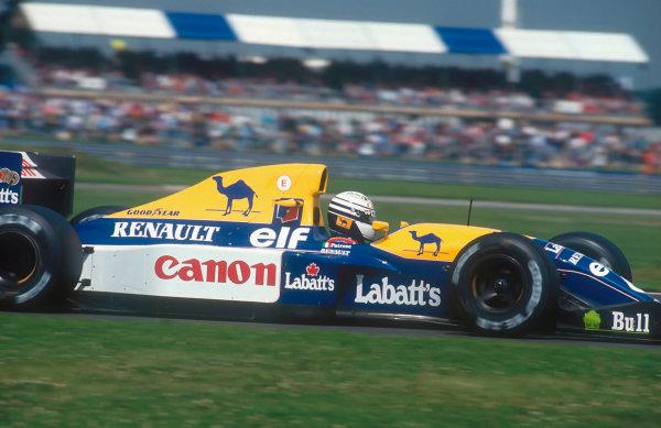 1992 British Grand Prix.Silverstone, England.10-12 July 1992.Riccardo Patrese (Williams FW14B Renault) 2nd position.Ref-92 GB 13.World Copyright - LAT Photographic