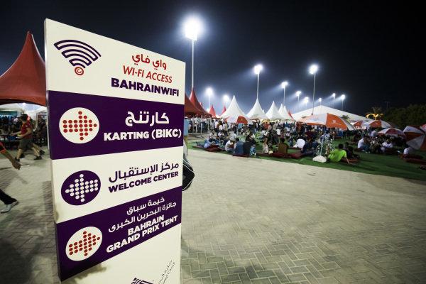 Fans and atmosphere and signage at Formula One World Championship, Rd3, Bahrain Grand Prix Practice, Bahrain International Circuit, Sakhir, Bahrain, Friday 14 April 2017.