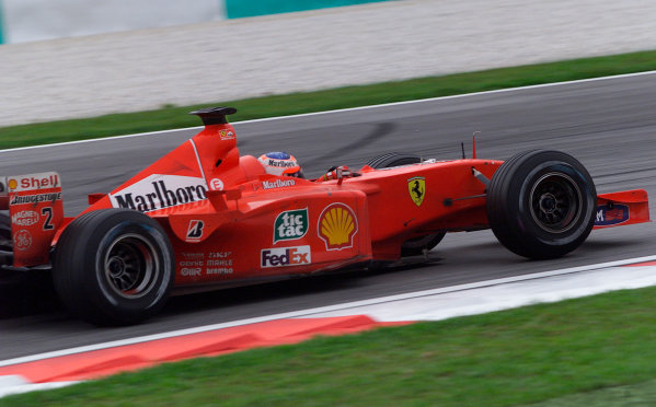 2001 Malaysian Grand Prix.Sepang, Kuala Lumpur, Malaysia. 16-18 March 2001.Rubens Barrichello (Ferrari F2001) 2nd position.World Copyright - Steve Etherington/LAT Photographic.ref: 18mb Digital Image