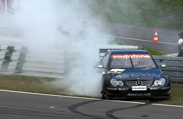 2002 DTM Championship Nurburgring, Germany. 2th - 4th August 2002. Jean Alesi (Mercedes CLK-DTM) crashes out of the race.World Copyright: Andre Irlmeier/LAT Photographic