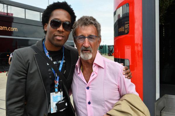 Lemar (GBR) Singer and Eddie Jordan (IRE) BBC Television Pundit. Formula One World Championship, Rd9, British Grand Prix, Qualifying, Silverstone, England, Saturday 5 July 2014.