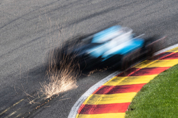 George Russell, Williams Racing FW42, kicks up sparks