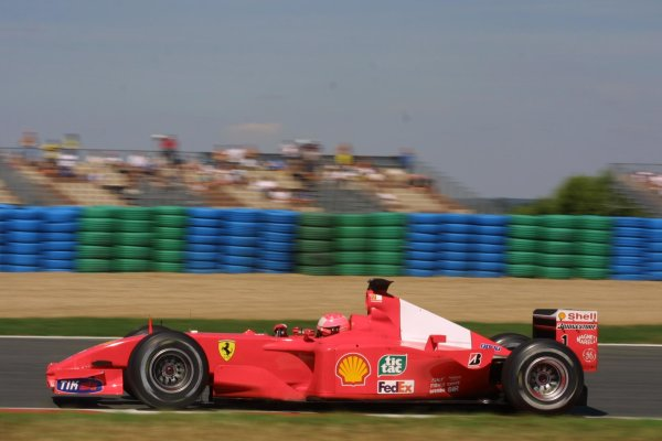 2001 French Grand Prix - Friday PracticeMagny-Cours, France. 29th June 2001Michael Schumacher, Ferrari F2001, action.World Copyright - LAT Photographicref: 8 9 MB Digital File only