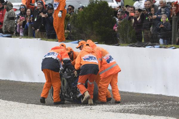 Maverick Vinales, Yamaha Factory Racing, bike after crash