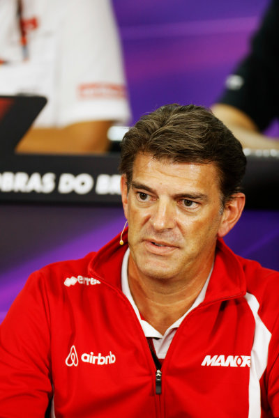 Interlagos, Sao Paulo, Brazil. Friday 13 November 2015. Greame Lowdon, President and Sporting Director, Marussia F1, in the Team Principals Press Conference. World Copyright: Alastair Staley/LAT Photographic ref: Digital Image _79P3716