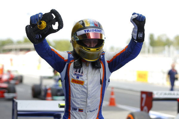 Race winner Johnny Cecotto (COL) Trident celebrates in parc ferme. GP2 Series, Rd2, Barcelona, Spain, 9-11 May 2014.