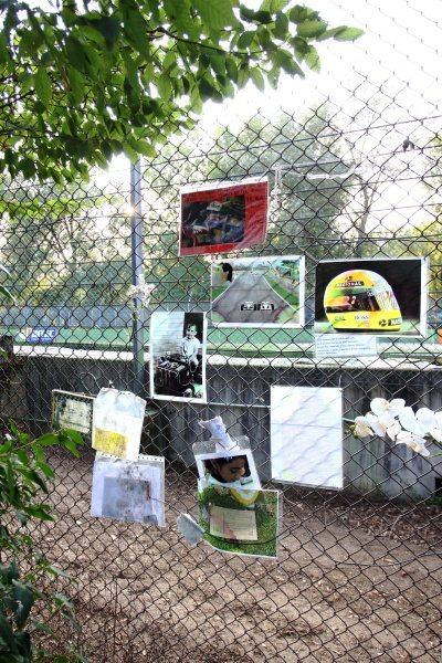 Memorials at Imola for Ayrton Senna (BRA).