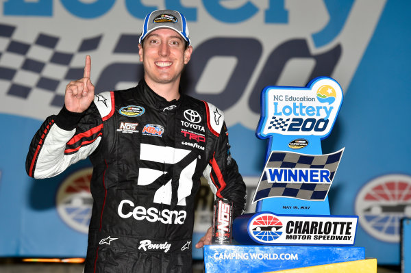 NASCAR Camping World Truck Series North Carolina Education Lottery 200 Charlotte Motor Speedway, Concord, NC USA Friday 19 May 2017 Kyle Busch, Cessna Toyota Tundra celebrates his win in Victory Lane World Copyright: Nigel Kinrade LAT Images ref: Digital Image 17CLT1nk04960