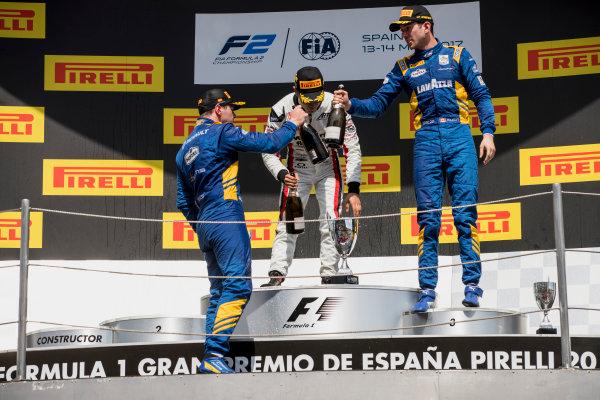 2017 FIA Formula 2 Round 2. Circuit de Catalunya, Barcelona, Spain. Sunday 14 May 2017. Oliver Rowland (GBR, DAMS), Nobuharu Matsushita (JPN, ART Grand Prix), Nicholas Latifi (CAN, DAMS)  Photo: Zak Mauger/FIA Formula 2. ref: Digital Image _56I0278