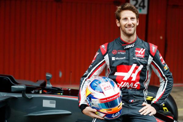 HAAS F1 Car Formula 1 Launch. Barcelona, Spain  Monday 27 February 2017. Romain Grosjean, Haas F1.  World Copyright: Dunbar/LAT Images Ref: _31I9966