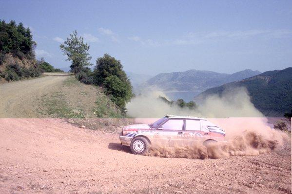 1991 World Rally Championship.Acropolis Rally, Greece. 2-5 June 1991.Juha Kankkunen/Juha Piironen (Lancia Delta Integrale 16V), 1st position.World Copyright: LAT PhotographicRef: 35mm transparency 91RALLY06