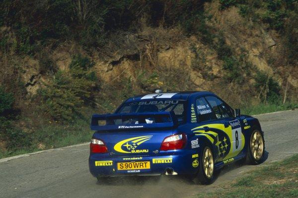2003 World Rally Championship.Tour de Corse, Corsica, France. 15-19 October 2003.Tommi Makinen/Kaj Lindstrom (Subaru Impreza WRC), 1st position.World Copyright: LAT PhotographicRef: 35mm transparency 03RALLY16