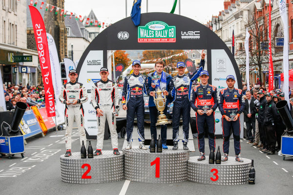 2016 FIA World Rally Championship, Round 13, Wales Rally GB 2016 October 27 - 30, 2016 Sebastien Ogier, VW, winner, Ott Tanak, Ford, 2nd overall, Thierry Neuville, Hyundai, 3rd overall  Worldwide Copyright: McKlein/LAT