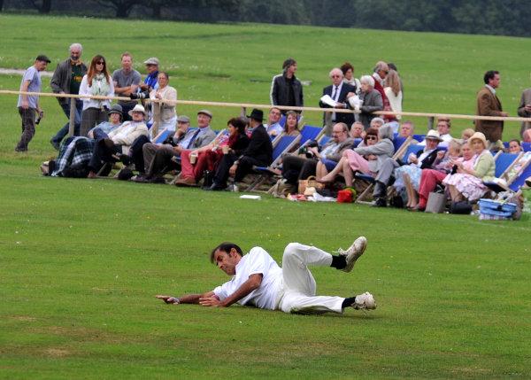 2014 Goodwood Revival Meeting Goodwood Estate, West Sussex, England 12th - 14th September 2014 Cricket. Emanuele Pirro.  World Copyright: Jeff Bloxham/LAT Photographic ref: Digital Image DSC_9948