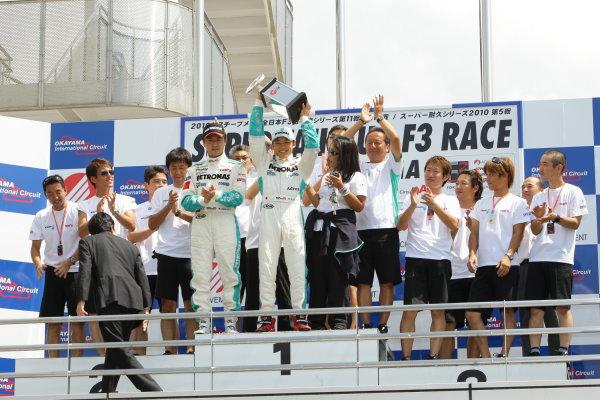 2010 Japanese Formula Three ChampionshipOkayama, Japan. 4th September 2010.2010 Champion Yuji Kunimoto ( #1 PETRONAS TEAM TOM'S ) podium.World Copyright: Yasushi Ishihara/LAT Photographicref: 2010JF3_R12_010