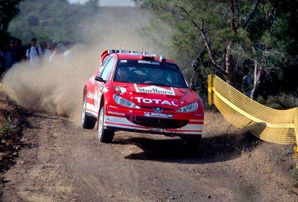 2003 World Rally ChampionshipRally of Cyprus, Cyprus. 19th - 22nd June 2003.Harri Rovanpera/Risto Pietilainen (Peugeot 206 WRC), action.World Copyright: McKlein/LAT Photographicref: 03WRCCyprus02