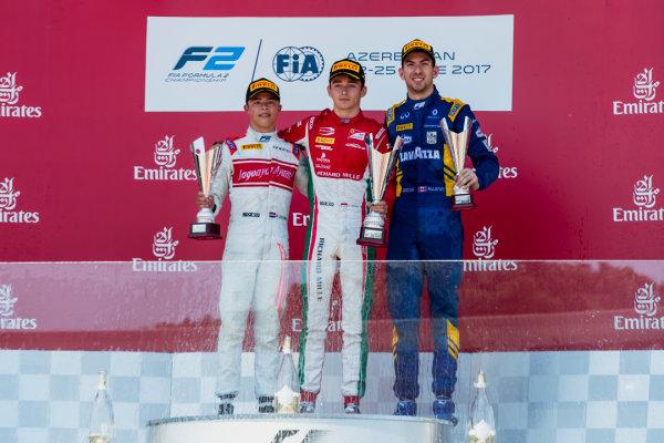 2017 FIA Formula 2 Round 4. Baku City Circuit, Baku, Azerbaijan. Saturday 24 June 2017. Nyck De Vries (NED, Rapax), Charles Leclerc (MCO, PREMA Racing) and Nicholas Latifi (CAN, DAMS)  Photo: Zak Mauger/FIA Formula 2. ref: Digital Image _56I7728