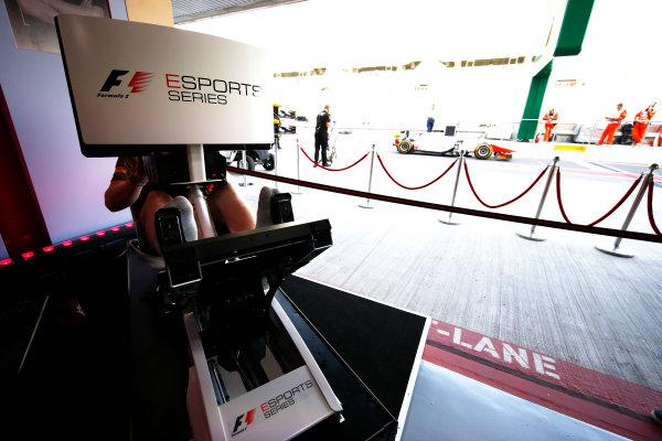 Yas Marina Circuit, Abu Dhabi, United Arab Emirates. Friday 24 November 2017. The F1 E-Sports arena. World Copyright: Andrew Hone/LAT Images  ref: Digital Image _ONY0121