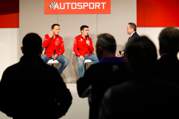 Autosport International Exhibition. National Exhibition Centre, Birmingham, UK. Friday 12th January 2018. Kris Meeke and Craig Breen of Citroen talk to Henry Hope-Frost on the Autosport Stage. World Copyright: Joe Portlock/LAT Images Ref: _U9I0491